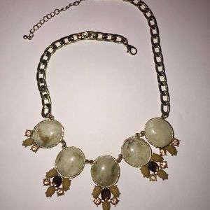 Off White and Gold Marble Print Necklace